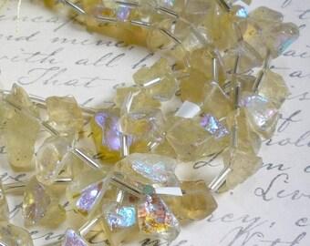 OUT Of Town SALE Mystic Lemon Quartz Briolette Beads,  8 Inches, Aqua Aura  Nugget Gemstone