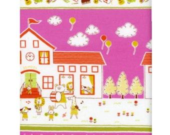 Animals Single Border Fabric - K10700-700D BERRY - Putite Ecole Japanese Cotton - select a length