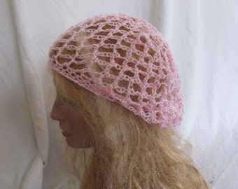 SALE - Light Pink and White Lacey Slouchy Beret/Tam/Dreadlock Hat (5262)