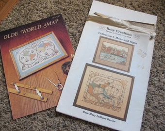 Set of 2 Old World Map Cross Stitch Books