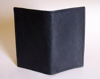 Navy Blue Leather Checkbook Cover - Dark Navy Textured Leather Checkbook Holder