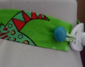Green trach tie with buttons - custom neck size - ONE OF A KIND