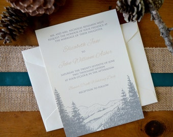 Rustic Mountain Pine Wedding Invitations