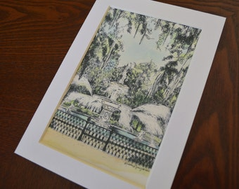 Savannah Watercolor Print - Forsyth Park Fountain