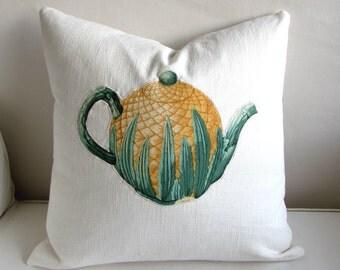 TEAPOT appliqued on off white linen decorative pillow cover 20x20