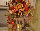 Sunflower and Pumpkin Lantern Swag