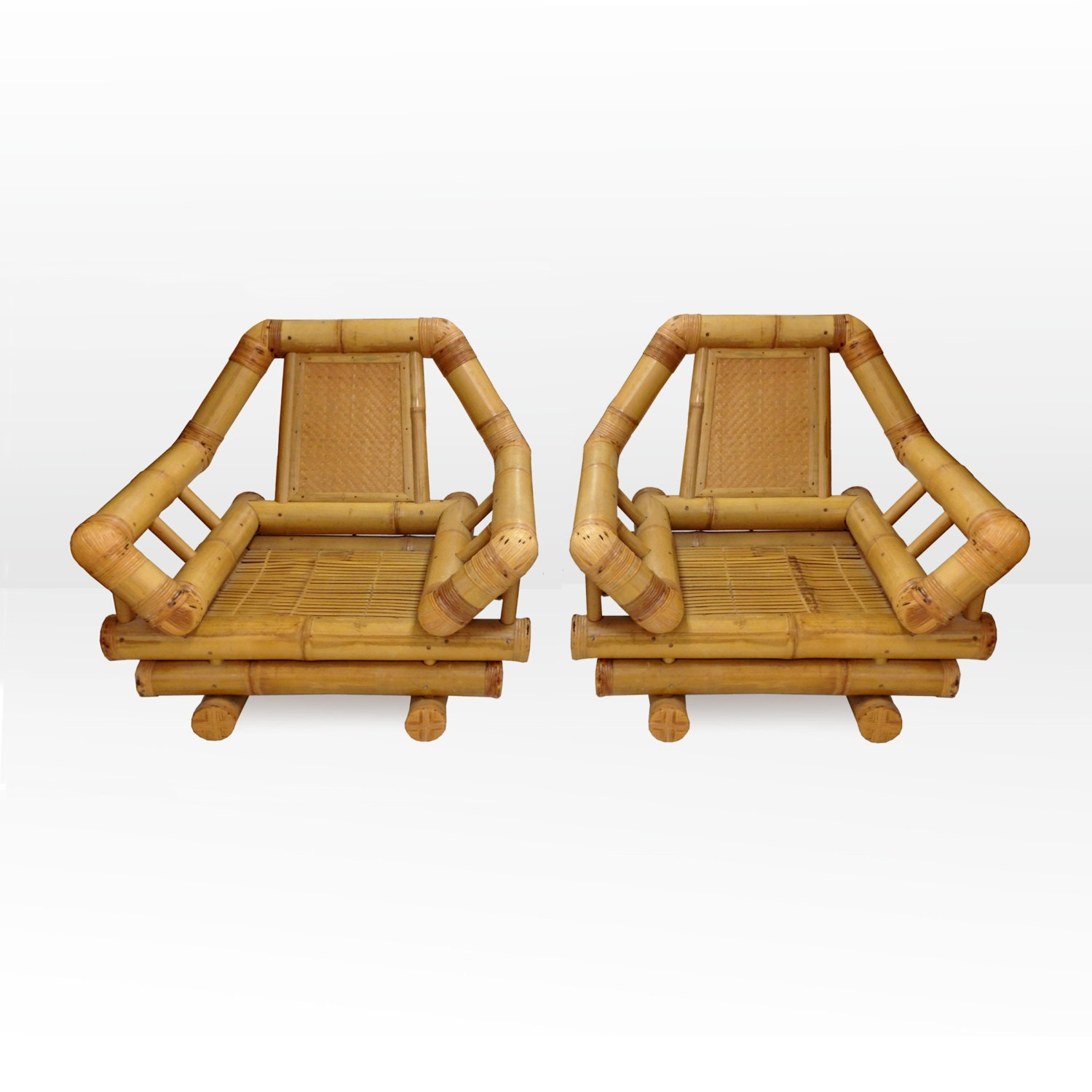 Mod Oversized Rattan Lounge Chairs by TheModernHistoric on Etsy