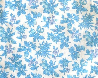 Vintage Floral Fabric in Light Blue and Lavender - Small Print Floral Smooth Fine Cotton