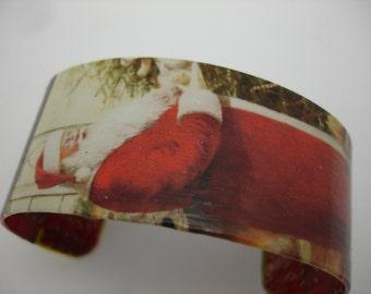 Santa Claus Bracelet Christmas Decoupage Cuff Bracelet