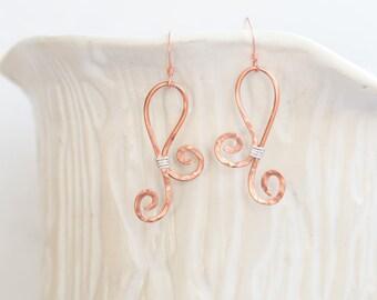 Copper and silver wire earrings, Wire Earrings, Mixed Metal Earrings, Drop Earrings, Dangle Earrings, Modern Earrings, Mixed Metal
