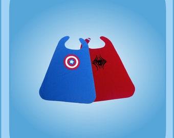 Baby Captain America Spiderman Reversible superhero cape Costume