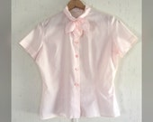 Sweet 1950's Cotton Candy Pink Blouse - Embroidered Necktie