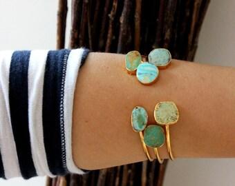 Bracelet, bangle Turquoise Gold Plated- Turquoise stones