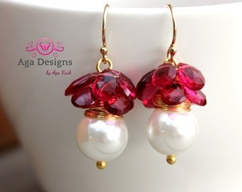 Ruby color earrings, Wedding, bridal earrings, white pearls, fresh-water jearrings with big white shell pearls and briolettes of pink Quartz