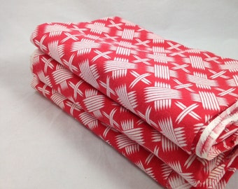 Collection of Three Vintage Flour Sack Bolts of Fabric in Red with White Design, Perfect for Sewing Projects and Quilting
