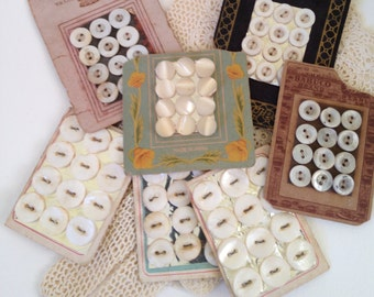 Seven Vintage Button Cards with Mother of Pearl Buttons.