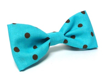 Bowtie for dogs in a teal polka dot design, dog collar bowtie, collar bow, fabric bowtie, fabric bow