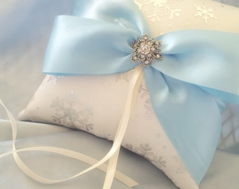 Snowflake Ring Pillow Silver Snowflakes Light Blue Ivory Ring Bearer Pillow Winter Wedding Rhinestone Accent