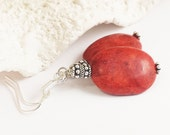 Red Coral Earring/Red Coral Silver Earring/Red Sponge Coral/Coral Jewelry/Genuine Coral/Bali Silver Earring/Balinese Earring/Red Jewelry