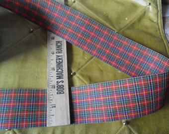 "Over 10 yard length x 1 7/8""w Vintage Plaid Offray ribbon trim"