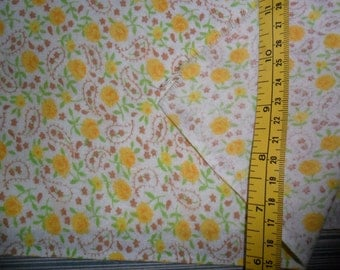 """Vintage Cotton Fabric w/Little Yellow Roses - 2 yards long x 44"""" width"""