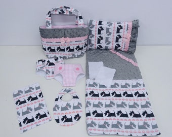 Bitty Baby Basics in Scottie Dog - Diaper Bag and Diapers with Blanket and Pillow