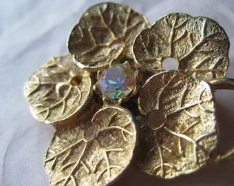 Flower Aurora Gold Brooch Rhinestone Vintage Pin AB