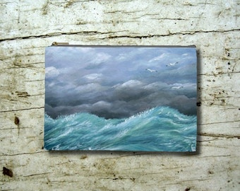 Cosmetic Bag Pouch Accessory for Purse Sea View 244 Ocean Waves painting by Lucie Dumas