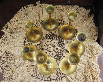 Lot 6 Matching  Brass Candlesticks Candle Holders, Lot Wedding Candle Holders, Repurpose