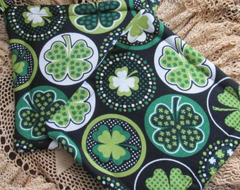 Fun St. Patricks Day Pot Holders, Iris Pot Holder, Shamrock