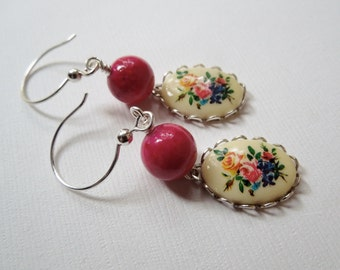 Earrings Vintage Cameo and Stone on Sterling Silver