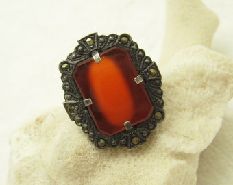 Art Deco Sterling Ring Marcasite Carnelian Antique Jewelry Size 6 3/4 R6986
