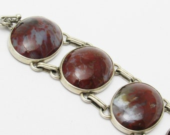 Wide Sterling Bracelet Vintage Red Agate Jewelry H & W Fox Nova Scotia B7008