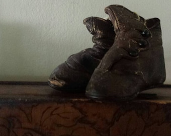 Well loved Leather Victorian Era baby booties- child's classic perfect for display!