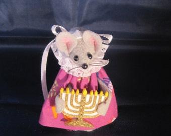 Hanukkah Mouse with a Menorah