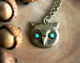 Green-Eyed Owl Pendant, Green Onyx, Owl Face Necklace, Owl Head, Antiqued Brass, Autumn, Fall Fashion