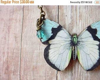 Butterfly Necklace, Moth Pendant, Blue Butterfly, Blue, white, Black,  Butterfly Pendant