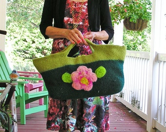 Flower Basket - A Large Felted Handbag, Decorated with Roses and Needle Felting