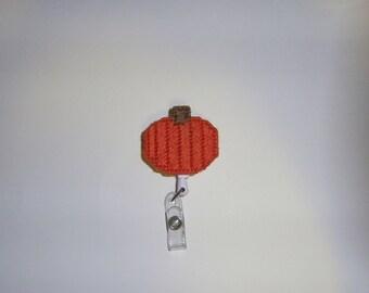 Pumpkin Retractable Badge Clip