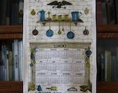 1966 Calendar Towel, Vintage Kitchen Towel, Peace And Plenty, Home And Hearth, Vintage Linen Calendar Towel, Linen Calendar Towel, 1967