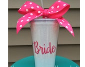 BRIDE or Bridal Party = 16oz Glitter Straw Cup Tumbler