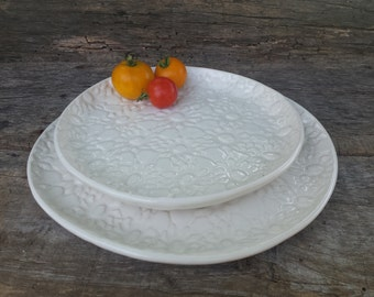White lace serving platters, set of 2