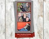 Houndstooth Three Photo Christmas Card - Horizontal Photos - Photo Paper Printed Christmas Card - 4 by 8 Holiday Card