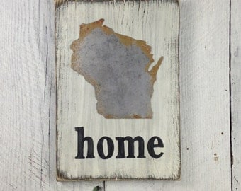 Wisconsin Home Sign State Wood Sign Custom State Sign State