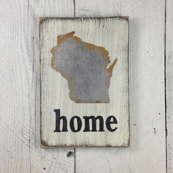 Metal Wisconsin Home Sign State Sign State Wall State