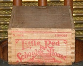 Antique Finger Jointed Little Red School House Chalk Crayon Wood Slide lid Printed Box