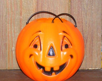 SALE Vintage Halloween Small Orange Jack O Lantern Pumpkin Plastic Blow Mold Candy Bucket