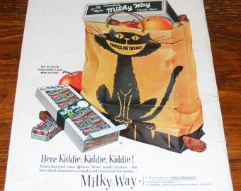 Vintage Womans Day October 1954 magazine Full Page Color Advertisement Halloween Black Cat Milky Way Mars Candy Ad
