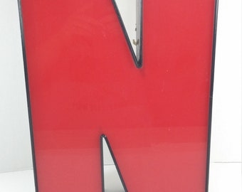 Vintage Industrial big red and black plastic and Metal Sign Letter N