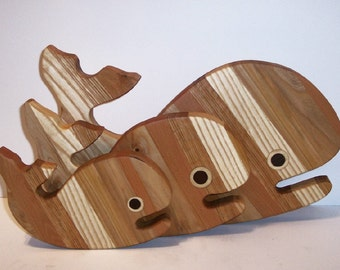 3 Whale's Wood Cutting Board Set Handcrafted from Mixed Hardwoods